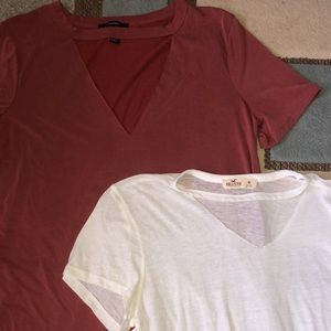 Forever 21 and Hollister Cut Collar Shirts